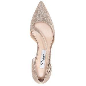 Nina Tirisa Beige Baby Glitter Heels